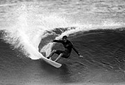 Black And White Surf Photos Posters - Shane Surf Carving in Black and White Poster by Paul Topp