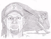 Baseball. Philadelphia Phillies Drawings - Shane Victorino- Flying Hawaiian by Chris  DelVecchio