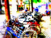 Urban Landscape Art Prints - Shanghai Bikes Print by Funkpix Photo  Hunter