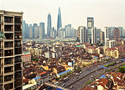 Old Shanghai China Prints - Shanghai Old Town And Skyline Print by Katya Knyazeva