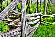 High Dynamic Range Mixed Media Originals - Shannandoa Fence by Shane York