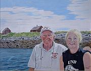 Maine Drawings Acrylic Prints - Shannon and Her Gramps Acrylic Print by Tobi Czumak