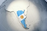 Cartography Digital Art Prints - Shape And Ensign Of Argentina On A Globe Print by Dieter Spannknebel