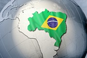 Cartography Digital Art Prints - Shape And Ensign Of Brazil On A Globe Print by Dieter Spannknebel