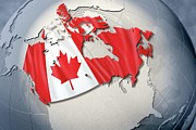 Politics Digital Art Prints - Shape And Ensign Of Canada On A Globe Print by Dieter Spannknebel