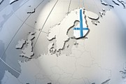 Cartography Digital Art - Shape And Ensign Of Finland On A Globe by Dieter Spannknebel