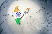 Politics Digital Art Prints - Shape And Ensign Of India On A Globe Print by Dieter Spannknebel