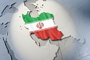 Lit Posters - Shape And Ensign Of Iran On A Globe Poster by Dieter Spannknebel