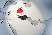 Politics Digital Art Prints - Shape And Ensign Of Iraq On A Globe Print by Dieter Spannknebel