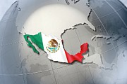 Politics Digital Art Prints - Shape And Ensign Of Mexico On A Globe Print by Dieter Spannknebel
