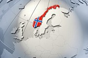 Norwegian Posters - Shape And Ensign Of Norway On A Globe Poster by Dieter Spannknebel