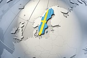 Swedish Posters - Shape And Ensign Of Sweden On A Globe Poster by Dieter Spannknebel