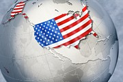 Politics Digital Art Prints - Shape And Ensign Of The Usa On A Globe Print by Dieter Spannknebel
