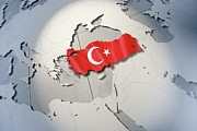 Cartography Digital Art Prints - Shape And Ensign Of Turkey On A Globe Print by Dieter Spannknebel