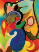 Colorful Contemporary Pastels - Shapes by Christine Perry