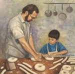Baking Prints - Shaping Bagel Dough Print by Robert Casilla