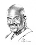 Basketball Sports Drawings Prints - Shaquille ONeal Print by Murphy Elliott