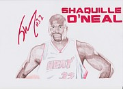 Boston Celtics Drawings Posters - Shaquille ONeal Poster by Toni Jaso