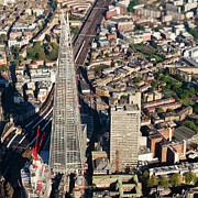 Aerial Photograph Framed Prints - Shard London aerial view Framed Print by Gary Eason