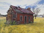 Egg Tempera Painting Metal Prints - Sharecroppers Shack Metal Print by Peter Muzyka