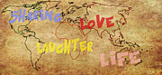 Planet Map Digital Art Posters - Sharing Love Life Laughter World Map Poster by Georgeta  Blanaru
