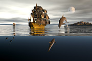 Dolphin Digital Art - Sharing the living sea by Claude McCoy