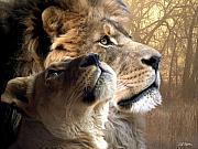 Lions Mixed Media Prints - Sharing the Vision Print by Bill Stephens