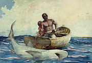 African American Men Paintings - Shark Fishing by Winslow Homer