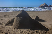 Sharks Posters - Shark sand sculpture Poster by Garry Gay
