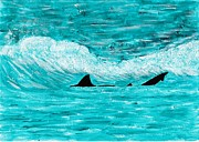 Sharks Paintings - Shark Waters by Freda Gudopp