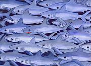 Sharks Painting Metal Prints - Sharks Metal Print by Catherine G McElroy
