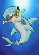 Cartoonist Digital Art - Sharks that eat cake Hammerhead by Sean Williamson