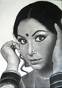 Star Drawings Posters - Sharmila Tagore Poster by Mickey Raina
