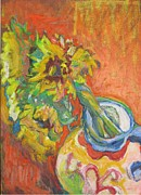 Floral Pastels Originals - Sharon s Sunflowers by Sharon Wensel
