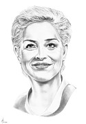 Pencil Portrait Drawings - Sharon Stone by Murphy Elliott