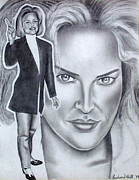 Murals Drawings Prints - Sharon Stone Print by Rick Hill