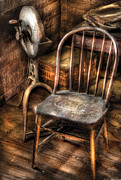 Brown Tones Framed Prints - Sharpener - Grinder and a Chair Framed Print by Mike Savad