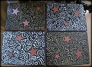 Gold Mixed Media Prints - Sharpie Star Tv Table Set Print by Mandy Shupp