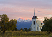 Loree Johnson Posters - Shasta Alpenglow with Historic Church Poster by Loree Johnson