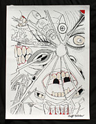 Intensity Drawings Posters - Shattered Reflections Poster by Raymond Bucklew