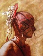 Indian Art Prints - Shawnee Indian Warrior Portrait Print by Randy Steele