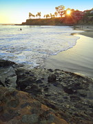 California Big Wave Surf Prints - Shaws Cove  Print by Linda Marshutz