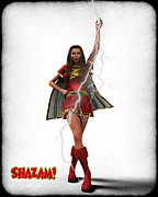 Super Heroe Framed Prints - Shazam - Mary Marvel Framed Print by Frederico Borges