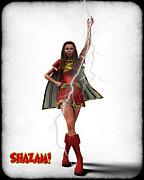 Shazam - Mary Marvel Print by Frederico Borges