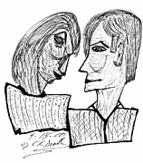 Original Pen And Ink Drawing Prints - She And He Pen And Ink 2000 Print by Carl Deaville