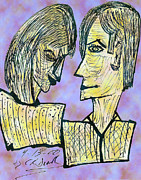 Signed Digital Art Posters - She And He Pen And Ink 2000 Digital Poster by Carl Deaville