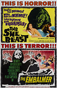 Horror Movies Posters - She-beast, On A Double Bill Poster Poster by Everett