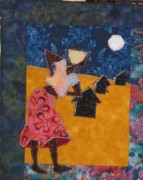 Fabric Mixed Media - She Dances Alone by Rhoda Forbes