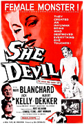 Femme Fatale Framed Prints - She Devil, Blonde Woman Featured Framed Print by Everett