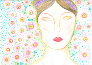 Poppies Drawings Posters - She dreams in flowers Poster by Sheba Goldstein